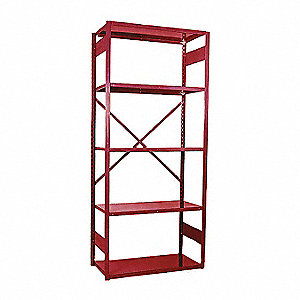 "Starter Open Metal Shelving, 36""W x 18""D x 84"" Load Cap., 5 Shelves, Cherry Red"
