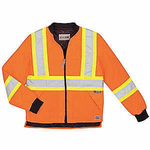 Hi-Vis Jacket,Polyester,Flo Orange,L