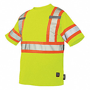 Hi-Vis Short Sleeve T-Shirt,Flo Green,2X