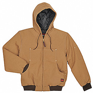 Hooded Jacket, Bomber, Cott Duck, Brown, 3X