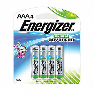 AAA Standard Battery, Energizer Eco Advanced, Alkaline, PK4