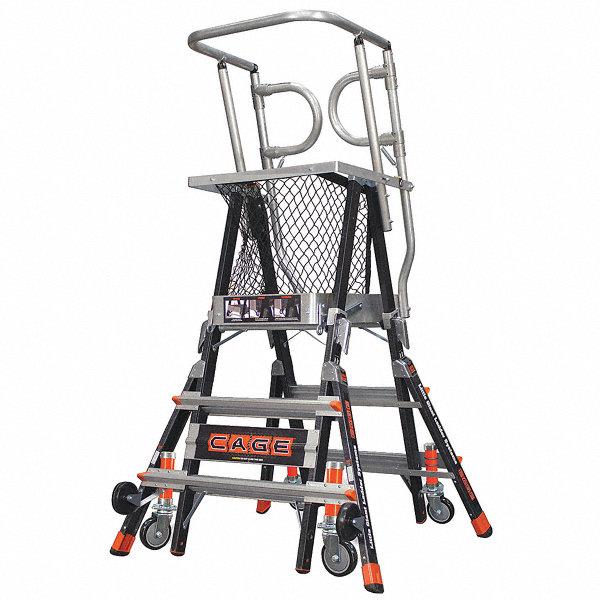 LITTLE GIANT Fiberglass Safety Cage Platform Ladder, 3 to