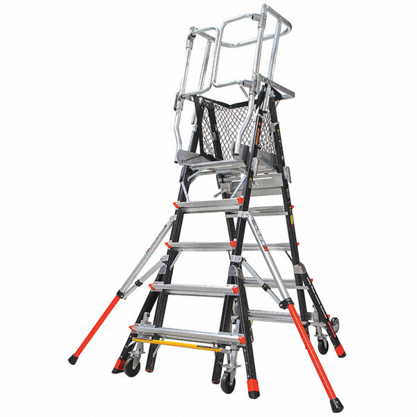 Little Giant Fiberglass Safety Cage Platform Ladder 5 To