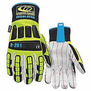Impact Resistant Gloves, Cotton Palm Material, High Visibility Green, 1 PR