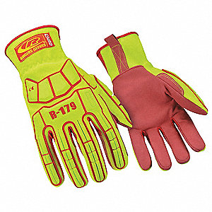 Impact Resistant Gloves, Synthetic Leather Palm Material, High Visibility Green, 1 PR