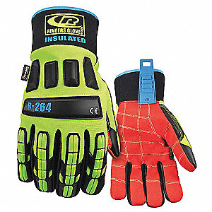 Impact Resistant Gloves, PVC Palm Material, High Visibility Green, 1 PR