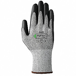 Polyurethane Cut Resistant Gloves, ANSI/ISEA Cut Level 3, Dyneema®, Lycra® Lining, Gray/Black, 6, PR