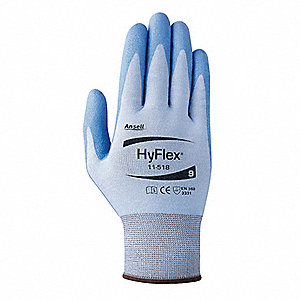 Polyurethane Cut Resistant Gloves, ANSI/ISEA Cut Level 2, Dyneema® Diamond HPPE Lining, Blue, 8, PR