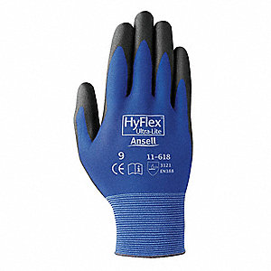 18 Gauge Smooth Polyurethane Coated Gloves, Glove Size: 9, Blue/Black