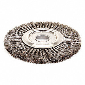 "12"" Twisted Wire Wheel Brush, Arbor Hole Mounting, 0.016"" Wire Dia., 1 EA"