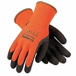 Winter Glove, Knit Wrist Cuff, Orange/Brown, L, PR 1