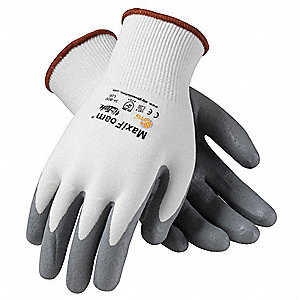 15 Gauge Coated Gloves, White/Gray