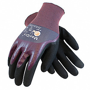 15 Gauge Coated Gloves, Purple/Black