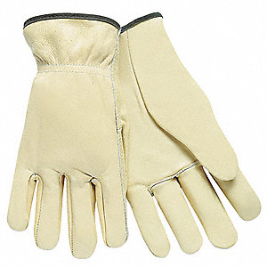 Cowhide Leather Work Gloves, Slip-On Cuff, Cream, Size: XS, Left and Right Hand