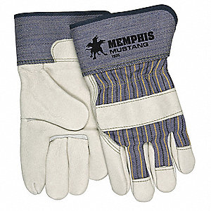 Cowhide Leather Work Gloves, Safety Cuff, Beige Palm, Blue and Yellow Stripped Back, Size: M, Left a