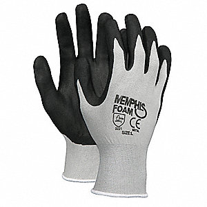 13 Gauge Foam Nitrile Coated Gloves, Glove Size: XL, Gray/Black