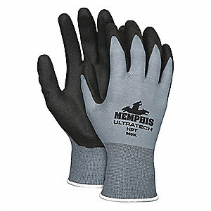 15 Gauge Foam PVC Coated Gloves, Glove Size: L, Gray/Black