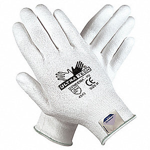 Polyurethane Coated Gloves with Dyneema, ANSI/ISEA Cut Level 3, White, M, PR 1