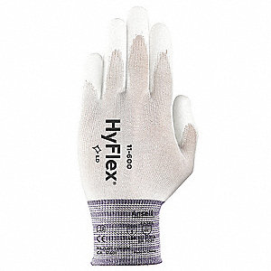15 Gauge Smooth Polyurethane Coated Gloves, Glove Size: 9, White/White
