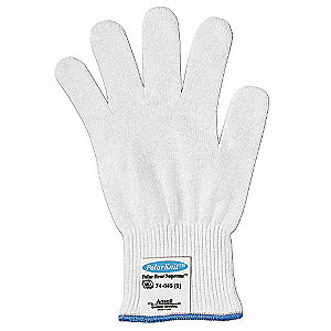 Uncoated Cut Resistant Glove, ANSI/ISEA Cut Level 4, White, 10, EA 1