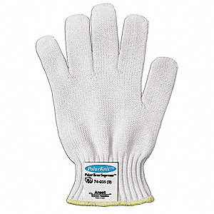 Uncoated Cut Resistant Glove, ANSI/ISEA Cut Level 5, White, 7, EA 1