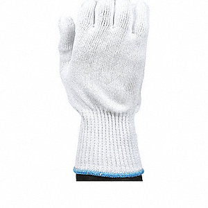 Uncoated Cut Resistant Glove, ANSI/ISEA Cut Level 5, Dyneema® Lining, White, M, EA 1
