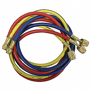 Manifold Hose Set,60 In,Red,Yellow,Blue