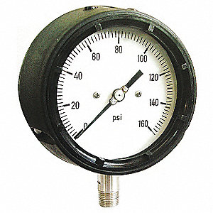 "4-1/2"" Process Pressure Gauge, 0 to 200 psi"