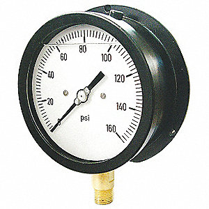 Pressure Gauge,0 to 300 psi Rng,Black