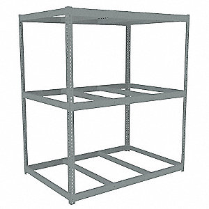"Starter Boltless Shelving with None Decking, 3 Shelves, 72-5/8""W x 48-5/8""D x 84""H"