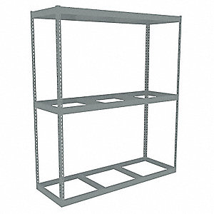 "72"" x 24"" x 84"" Steel Boltless Shelving Starter Unit, Gray&#x3b; Number of Shelves: 3"