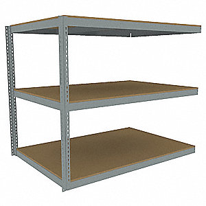 "Add-On Boltless Shelving with Particle Board Decking, 3 Shelves, 73""W x 48-5/8""D x 60""H"