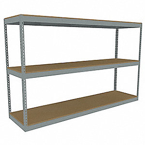 "96"" x 24"" x 60"" Steel Boltless Shelving Starter Unit, Gray&#x3b; Number of Shelves: 3"