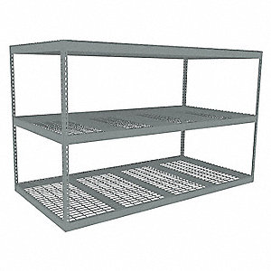 "Starter Boltless Shelving with Steel Wire Decking, 3 Shelves, 96-5/8""W x 48-5/8""D x 60""H"