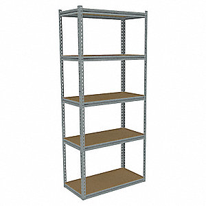 "36"" x 18"" x 84"" Steel Boltless Shelving Starter Unit, Gray&#x3b; Number of Shelves: 5"