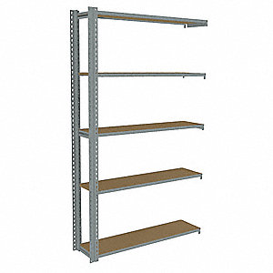 "Add-On Boltless Shelving with Particle Board Decking, 5 Shelves, 49""W x 12-5/8""D x 84""H"