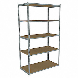 "Starter Boltless Shelving with Particle Board Decking, 5 Shelves, 48-5/8""W x 24-5/8""D x 84""H"