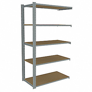 "48""W x 24""D x 84""H Steel Boltless Shelving Add-On Unit, Gray&#x3b; Number of Shelves: 5"