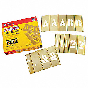"Stencil Kit, A-Z, 0-9, $, & and Punctuation, 4"", Brass, 1 EA"