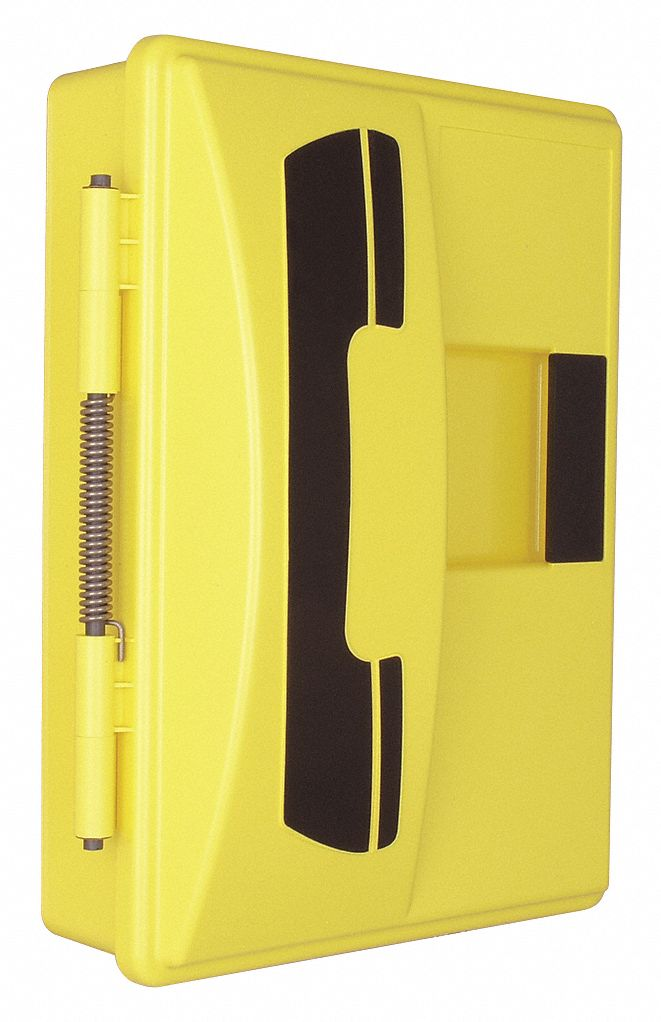 9 inW x 4 inD x 12 inH Weather Resistant Phone Enclosure, Yellow