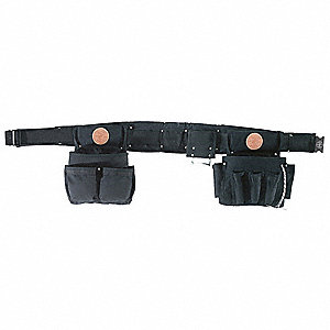 "Black Tool Pouch and Belt Set, Cordura® Nylon, 36"" to 40"" Waist Size, Number of Pockets: 27"