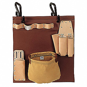 Natural Aerial-Basket Tool Carrier, Vinyl, Leather, Number of Pockets: 5