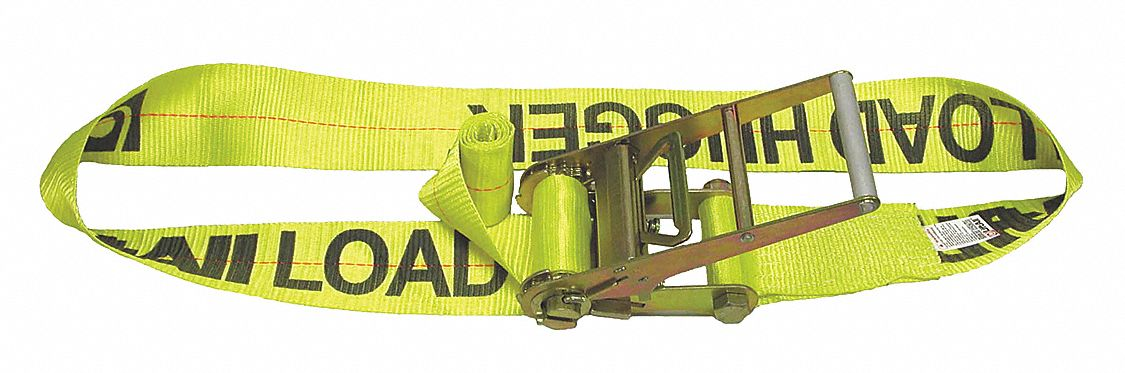 Tie Down Strap, 15 ftL x 4 inW, 5,000 lb Load Limit, Adjustment: Ratchet