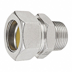 "1/2"" Rigid Compression Connector, 1-23/32"" Overall Length"