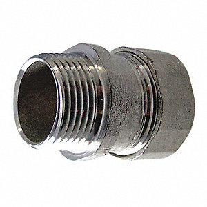 "3/4"" EMT Compression Connector, 1-45/64"" Overall Length"