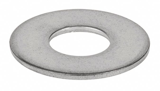 Stainless Steel Flat Washer,  Plain Fastener Finish,  Fits Bolt Sizes 1/4 in