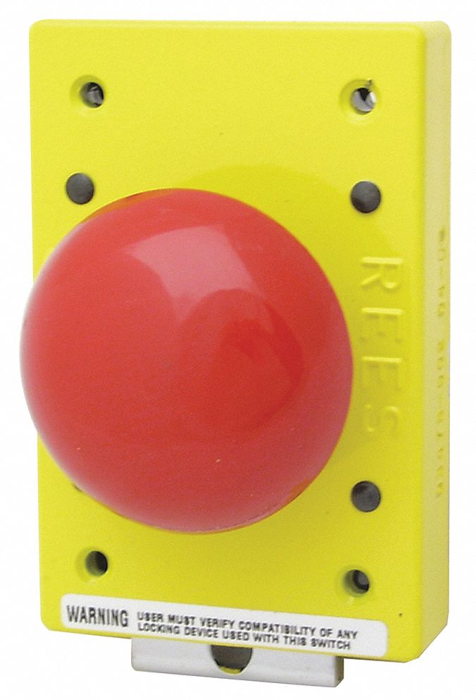 Emergency Stop Push Button,  57 mm,  Momentary Push,  57mm Mushroom Plunger,  Delrin