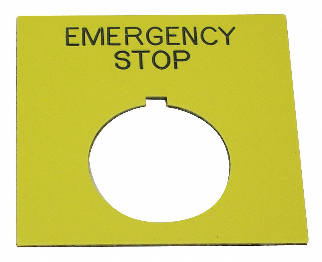 30 mm Square Emergency Stop Legend Plate, Plastic, Yellow