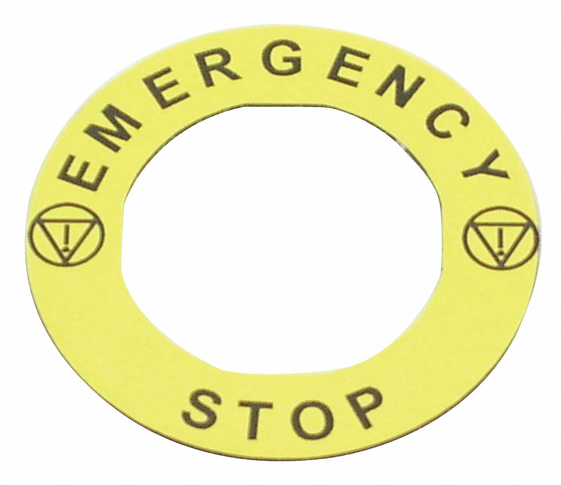 22 mm Round Emergency Stop Legend Plate, Plastic, Yellow