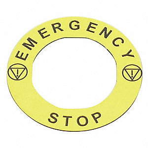 22mm Round Emergency Stop Legend Plate, Plastic, Yellow
